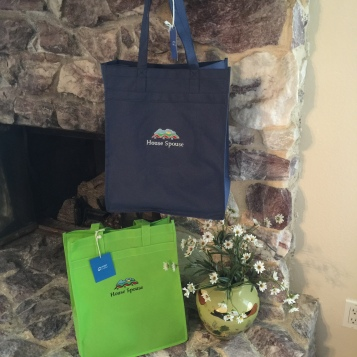 Green and blue bags on fireplace