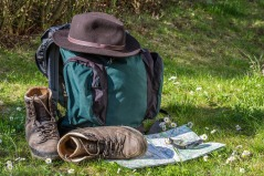 Hiking Shoes Orientation Backpack Hiking Hat Map